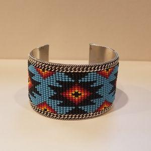 """Beaded Cuff Bracelet  - 1.75"""" Wide"""